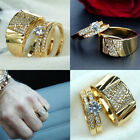 18k Yellow Gold Plated Couple Ring Womens Mens Wedding Engagement Rings Jewelry