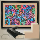 """44W""""x32H"""" UNTITLED 1985 by KEITH HARING - DOUBLE MATTE, GLASS and FRAME"""