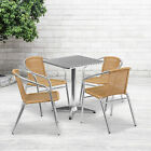 """23.5"""" Square Aluminum Garden Patio Table Set With 4 Rattan Chairs"""