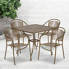 """Commercial 35.5"""" Square Metal Garden Patio Table Set W/ 4 Round Back Chairs"""