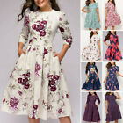 Summer Spring Women Vintage Dress Tunic Long/Short Sleeved Floral Print Dresses