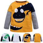 Kids Boys Dinosaur Long Sleeve T-shirt Tops Blouse Cartoon Cotton Tee Shirt New