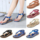 SOCOFY Women Boho Slippers Flip Flops Flat Shoes Clip Toe Beach Thong Sandals