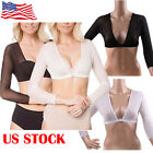 US STOCK Unique Plus Size Seamless Arm Shaper Short Cropped Navel Mesh Cardigan
