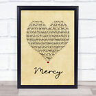 Shawn Mendes Mercy Vintage Heart Song Lyric Quote Print