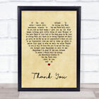 Thank You Vintage Heart Song Lyric Quote Print