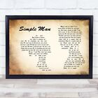Simple Man Man Lady Couple Song Lyric Quote Print