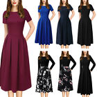 Women Elegant Pockets Floral Print Pleated Work Office Party A-Line Skater Dress