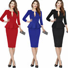 Womens Deep V Neck Peplum Slim Cocktail Party Fitted Bodycon Pencil Sheath Dress