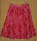 Due Per Due womens coral multi linen full shirred flared silk dress skirt 2 $128