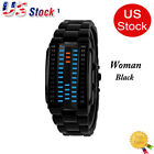 Electronic LED Watch Luminous Men Blue Binary Sport Stainless Steel Digital US image