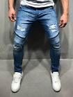 Ripped Jeans Streetwear Zipper Detail Blue Distressed Skinny Fit Casual 4086