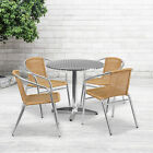"""31.5"""" Round Aluminum Garden Patio Table Set With 4 Rattan Chairs"""