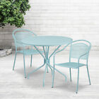 """Commercial 35.25"""" Round Metal Garden Patio Table Set W/ 2 Round Back Chairs"""