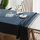 100% Cotton Dinning Coffee Table Cloth Covering Blue Geometric TauR