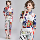 2019 Spring Summer Two Piece Women Sets Print Top Shirt Blouse Pant Luxury Suits