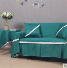 Plain Green Cotton Linen Slipcover Sofa Cover RAUt 1 2 3 4 seater Thick