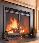 Fire Screen Double Doors Black Cast Iron Firescreen Fireplace Flat Guard Chimney