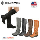 Dream Pairs Women Pull On Flat Winter Mid Calf Knee High Snow Riding Boots Shoes