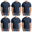 Lot of 6 Hanes Navy Blue Beefy T Shirt 5180 Blank Tee Size S - 4XL