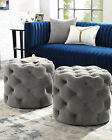 Velvet or Linen Tufted Ottoman Bench Foot Stool Fabric Bedroom Round, 1 PC