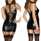 Latex Erotic Lingerie Babdoll For Women PU Leather Lace Patchwork Role