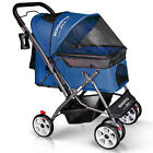 4 Wheels Folding Pet Stroller Cart for Dogs & Cats with Reversible Handle Bar