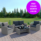 4 Seater Garden Light Grey Rattan Weave Sofa Patio Conservatory Set Free Cover