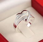 925 Silver Women Lady Love Heart Wedding Engagement Ring Band Crystal Diamond