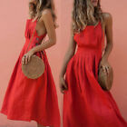 Women Boho Strappy Slim Casual Long Dress Evening Party Club Beach Sundress S-XL