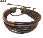 Mens Handmade Leather Braided Surfer Wristband Bracelet Bangle Wrap CLEARANCE