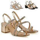 Womens Low Heel Strappy Sandals Ladies Gold Silver Diamante Bridal Party Shoes