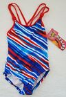 NEW GIRLS BACKFLIPS ONE PIECE SWIMSUIT RED WHITE BLUE STRIPE SIZE 6
