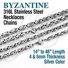 Byzantine Box Stainless Steel Chain Necklace Bracelet Silver Color Men 14in-48in