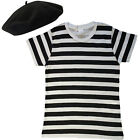 Ladies French Black White Striped Top T-Shirt Beret Fancy Dress costume outfit