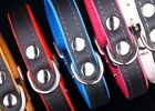 Real Leather DOG COLLAR Glossy Black with COLOURFUL lining Handmade