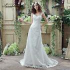 Simple White Sheath Wedding Dresses Sexy V-Neck Cap Sleeve Lace Up Back Bridal G