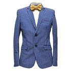 Elie Balleh Men's Cotton Blend Notched Polka Dot Pattern Sport Coat Blazer Navy