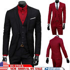 Men's Slim Tuxedo Business Formal Wedding Coat Leisure Blazer 3-Piece Solid Suit <br/> ✅US Size XS-2XL✅Fashion✅Gentleman✅Tops Vest Pants Set✅