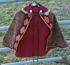 Renaissance Fighting Cape, Red Paisley, Brass Accents, Maroon Trim, Gold Collar