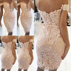 New Women Off Shoulder Backless Lace Floral Party Cocktail Bridesmaid Prom Dress