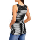 Maternity Womens Striped Nursing Clothes Pregnant Breastfeeding Tops Lace Blouse