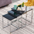 Modern Nest of Tables Coffee Table Side End Table Home Living Room Black White