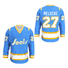 Gilles Meloche California Golden Seals Hockey Jersey Stitch Novelty Free Ship CR