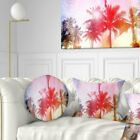 Designart 'Retro Palm Trees Long View' Landscape Painting Throw Pillow