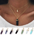 Moon Layer Gemstone Pendant Necklace Choker Natural Quartz Crystal Healing Stone