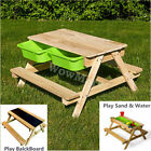 New 4 In 1 Kid Outdoor Wooden Sandpit Sand & Water Play Picnic Blackboard Table