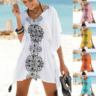 Fashion Womens Summer Half Sleeve Printed Swimsuit Beach Cover Up Dress CA