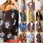 Women's Floral Shawl Vintage Cover Up Kimono Cardigan Chiffon Coat Jacket Blouse