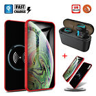 For iPhone X/XR/XS Max Qi Wireless Battery Case Charger Power Cover +TWS Headset